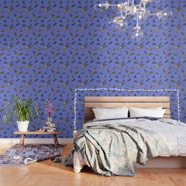 Trendy ultraviolet pattern with cattor and celery Wallpaper