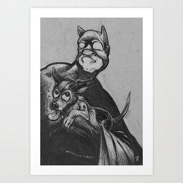 Loki gets a Bat hug Art Print