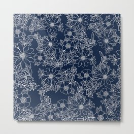 Artistic hand painted navy blue white modern floral Metal Print