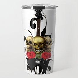 Red Rose Skull Rock and Roll Travel Mug