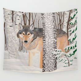 Lone Wolf Searching Wall Tapestry