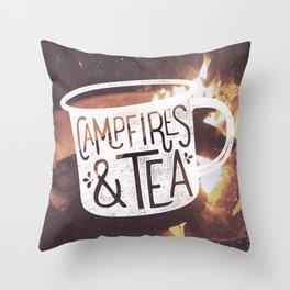 Campfires & Tea Throw Pillow
