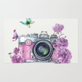 Camera with Summer Flowers 2 Rug