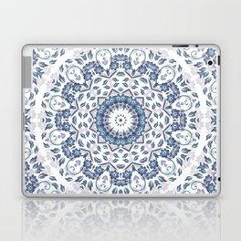 Grayish Blue White Flowers Mandala Laptop & iPad Skin