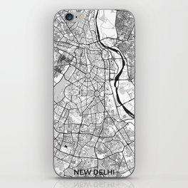 New Delhi Map Gray iPhone Skin
