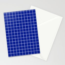 Indigo dye - blue color - White Lines Grid Pattern Stationery Cards