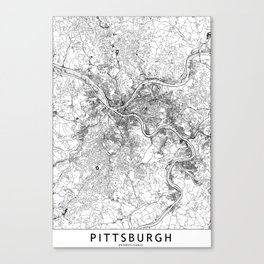 Pittsburgh White Map Canvas Print