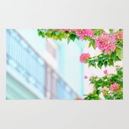 Colonial Havana Architecture with Pink Bougainvillea Rug