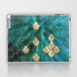 Multicolor Aqua And Gold Mermaid Scales -  Beautiful Abstract Pattern Laptop & iPad Skin