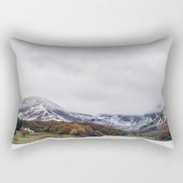 Crummock Water, with snow covered fells. Cumbria, UK. Rectangular Pillow