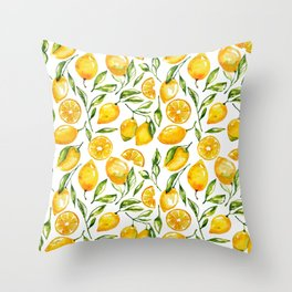 lemon watercolor print Throw Pillow