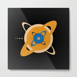 Solar System To Scale - Concentric Metal Print
