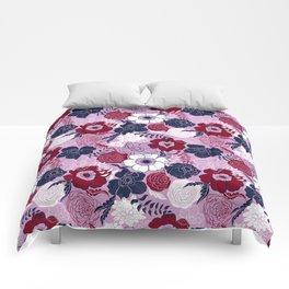 navy blue anemones Comforters
