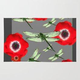 Poppy flowers rugs society6 emerald green dragonflies red poppy flowers grey art rug mightylinksfo