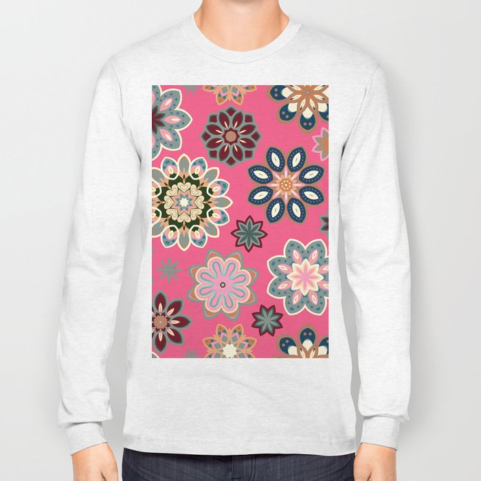 Flower retro pattern in vector. Blue gray flowers on pink background. Long Sleeve T-shirt
