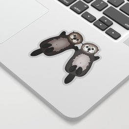 Otters Holding Hands - Otter Couple Sticker