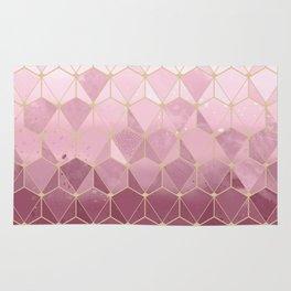 Pink gold geometric pattern Rug