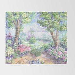 Весенний пейзаж Throw Blanket