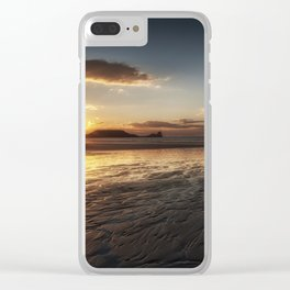 Sunset and wet sand at Worms Head Clear iPhone Case