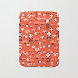Whimsy wildflowers in red Bath Mat