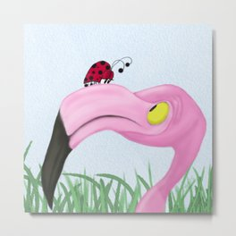 Fiona The Flamingo And Her Visitor Metal Print