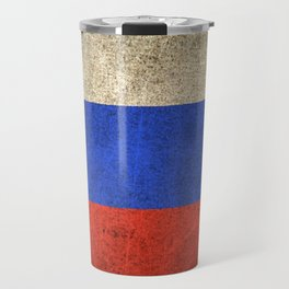 Old and Worn Distressed Vintage Flag of Russia Travel Mug