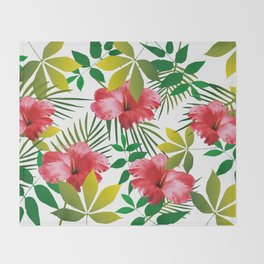 Hibiscus Flower and Leaf Throw Blanket