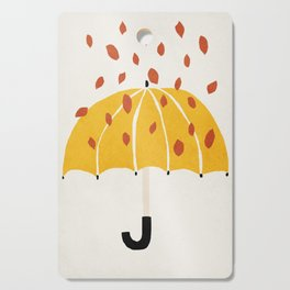 Umbrella, Autumn, Mid century modern kids wall art, Nursery room Cutting Board