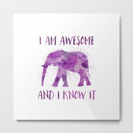 Awesome Watercolor Elephant Metal Print