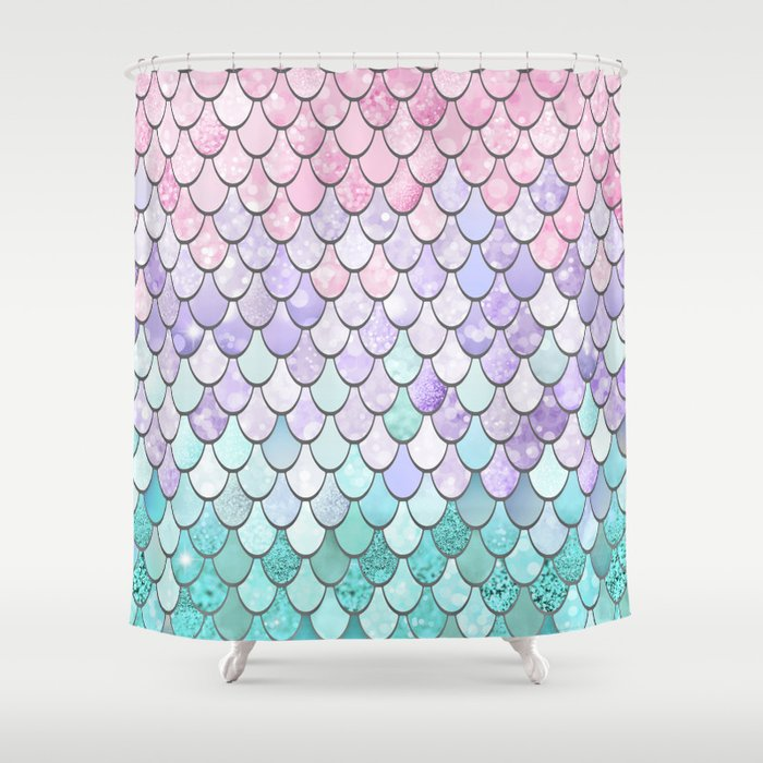 Mermaid Pastel Pink Purple Aqua Teal Shower Curtain