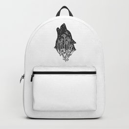 Adventure Wolf - Nature Mountains Wolves Howling Design Black on Pale Pink Backpack