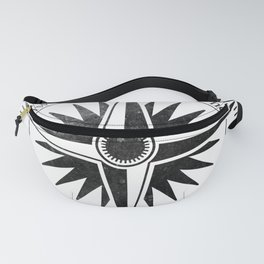 Black Compass on White Fanny Pack