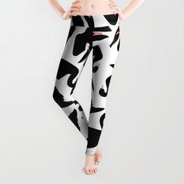 Black Swan Pattern on White 031 Leggings