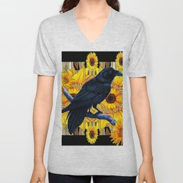GRAPHIC BLACK CROW & YELLOW SUNFLOWERS ABSTRACT Unisex V-Neck