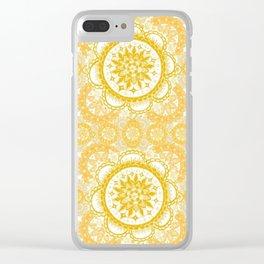 Orange Kaleidoscope Patterned Mandala Clear iPhone Case
