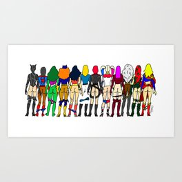 Superhero Butts - Girls - Row Version - Superheroine Art Print