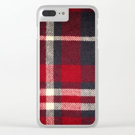 Red Flannel Pattern Clear iPhone Case