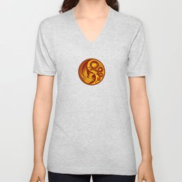 Yellow and Red Dragon Phoenix Yin Yang Unisex V-Neck