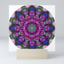Floral finery - kaleidoscope of blue, plum, rose and green 1650 Mini Art Print