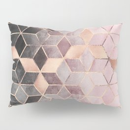 Pink And Grey Gradient Cubes Pillow Sham