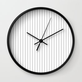 Dove Grey Pin Stripes on White Wall Clock