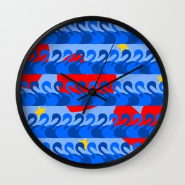 Graceful Blue Swans and Red Hearts Pattern Wall Clock