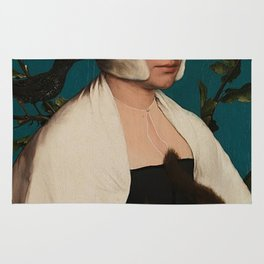 PORTRAIT OF A LADY WITH A SQUIRREL AND A STARLING - HANS HOLBEIN Rug
