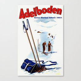 Vintage Adelboden Switzerland Ski Travel Canvas Print