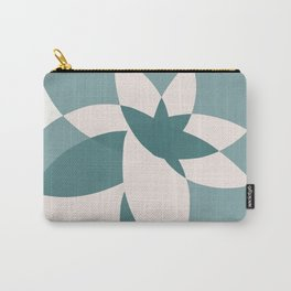 Abstract graphic bloom in teal and pale rose Carry-All Pouch