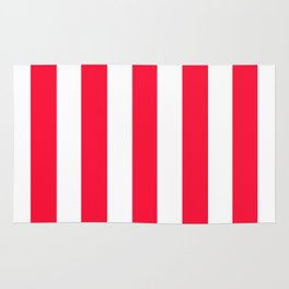 Tractor red - solid color - white vertical lines pattern Rug