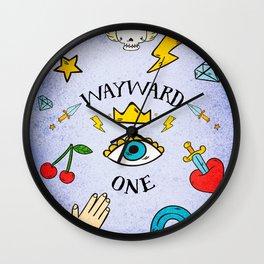 Old School Tattoo Art - Wayward One with Swallows Wall Clock