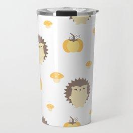 cute fall autumn pattern with hedgehogs, pumpkins and mushrooms Travel Mug