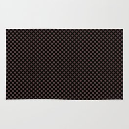 Black and Deep Mahogany Polka Dots Rug
