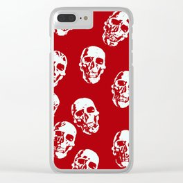 Hot Skulls, red white Clear iPhone Case